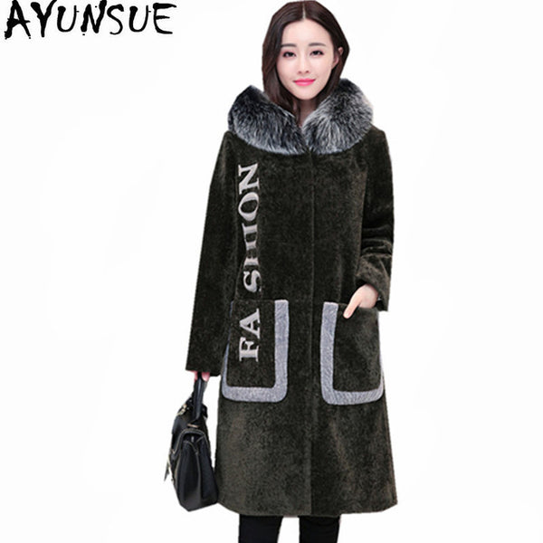 2020 Fashion Warm Winter Jacket Hooded Fur Coat Female Black Wool Long Coats Women Fox Fur Collar Jackets Abrigo WXF474
