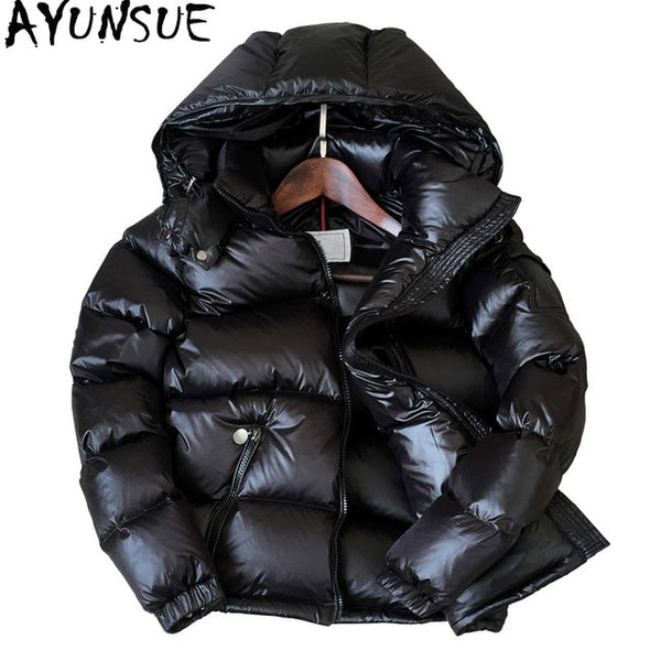 90% White Duck Down Jacket Winter Coat Women Thick Short Bright Hooded Korean Overcoat Women's Jackets Warm Parka KJ726