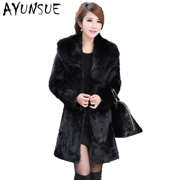 Faux Fur Coat Women Rabbit Fur Jacets Female Thick Warm Overcoat Fox Furs Collar Coats Black Jacket Plus Size 5XL WXF036