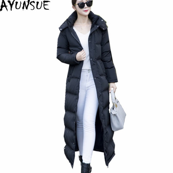 Long Black Thick Winter Coat 2018 Slim Women's Down Jacket Warm White Duck Down Coats Casacos De Inverno Feminino WXF138