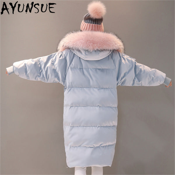 New 2018 Women's wWinter Down Jackets Warm Duck  Down Women Long Parka Raccoon Fur Coat Female Jacket  casaco feminino