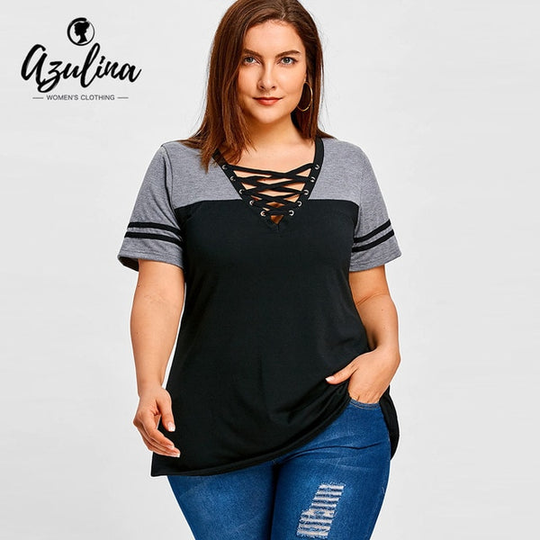 Plus Size Lace Up Color Block T-Shirt Summer Top V-Neck Short Sleeve T Shirt Women Tops Tees 2018 Casual Ladies Clothes
