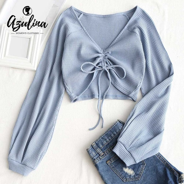Women Sexy V-Neck Crop Top Women T Shirt Summer Gathered Textured Knitted T-shirt Long Sleeve Cotton Ladies Tops Tees