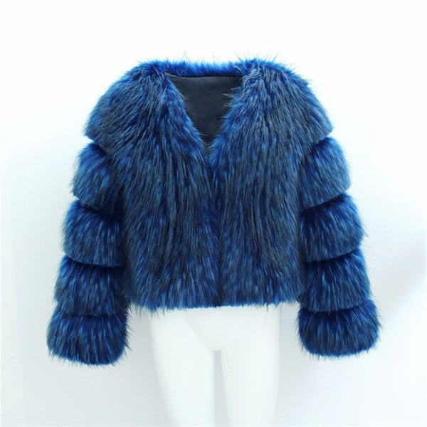 Aikooki High End Faux Fur Coat Women Europe Style Winter Latest Design Black Blue Fashion Hot Lady Faux Fox Fur Short Long Coats