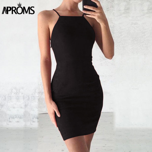Sexy Backless Lace Up Suede Dress Women Sundresses Summer 2020 Sleeveless Slim Bodycon Club We Dresses robe femme 11036