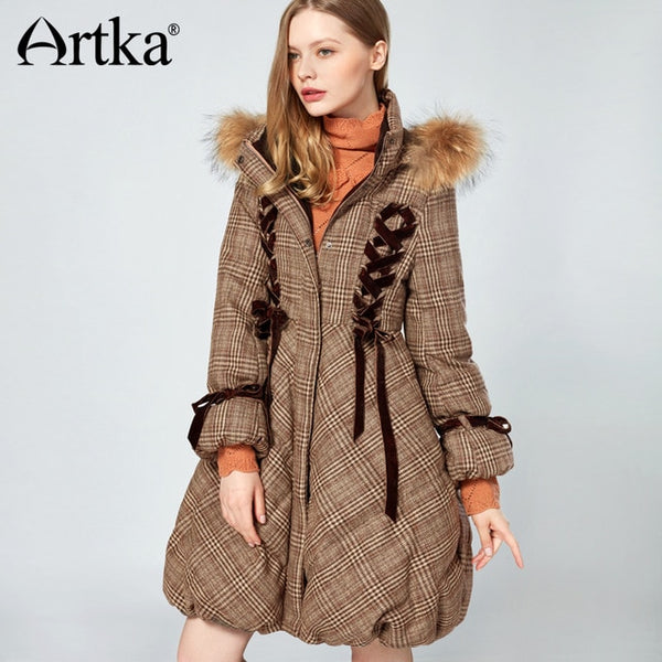 2020 Women's Long Down Parka Coat With Fur Trim Hood Winter Warm Puffer 90% Duck Down Jacket With Fur Collar ZK10079D