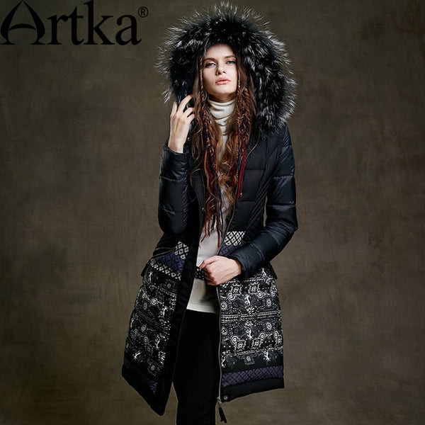 Fur Parka Women's Winter Jacket With Hood 2020 Black Long Parka Print Ladies Overcoat Luxury Duck Coat For Women ZK15255D