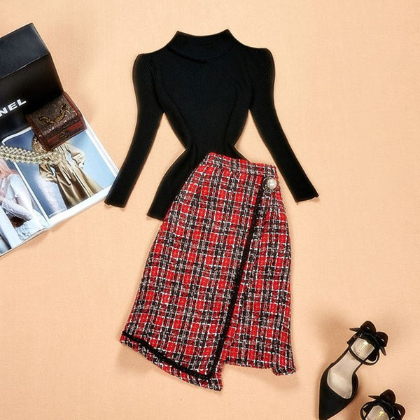 Autumn Designing Russian Style Women's Skirt Suits Black Knitting Sweater A-line Plaid Skirt Slim Casual 2 Pieces Skirt Sets