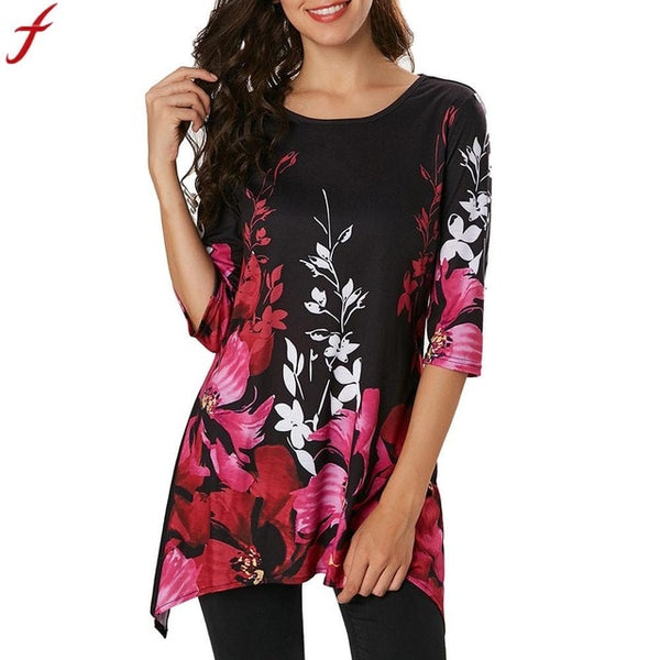 Autumn Long Shirt Women  Long Sleeve Female Irregular Blouses 2018 Floral Printed O Neck Tunic Shirt blusas femininas elegante