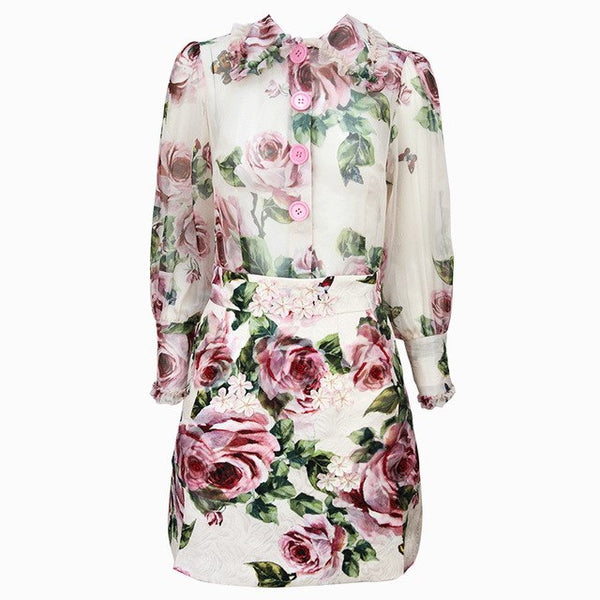 Autumn Runway Designer Set Suit Women's Long Sleeve Peter Pan Collar Floral Printed Gauze Blouse + Beading Appliques Skirt