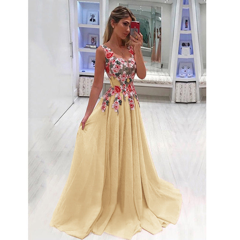 58bf8954ee7 Elegant Long Dress Women Evening Summer Dress Party Sexy V-neck Floral Pink  Maxi Dress Plus Size Women Clothing S-4XL