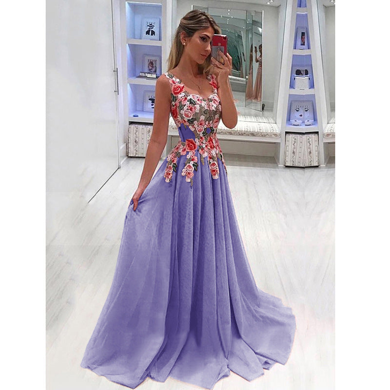 Elegant Long Dress Women Evening Summer Dress Party Sexy V,neck Floral Pink  Maxi Dress Plus Size Women Clothing S,4XL