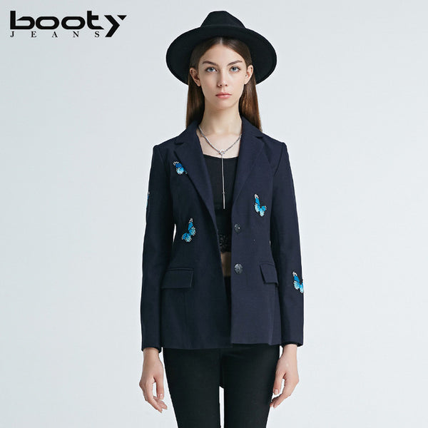 BOOTYJEANS Autumn 2017 New High Quality European Butterfly Embroidery Slim Women's Clothing Female Navy Blue Work Blazers