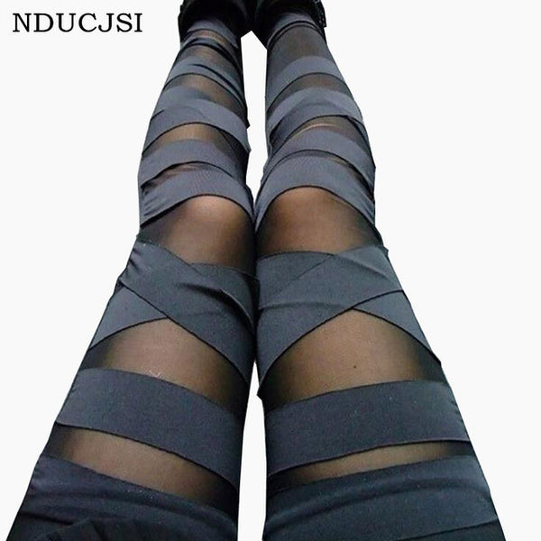 Bandage Leggings Charming Leggins Slim Women Punk Legins Lady 2017 Sexy Sexy Splicing Pants Stretch Black Trousers Patchwork