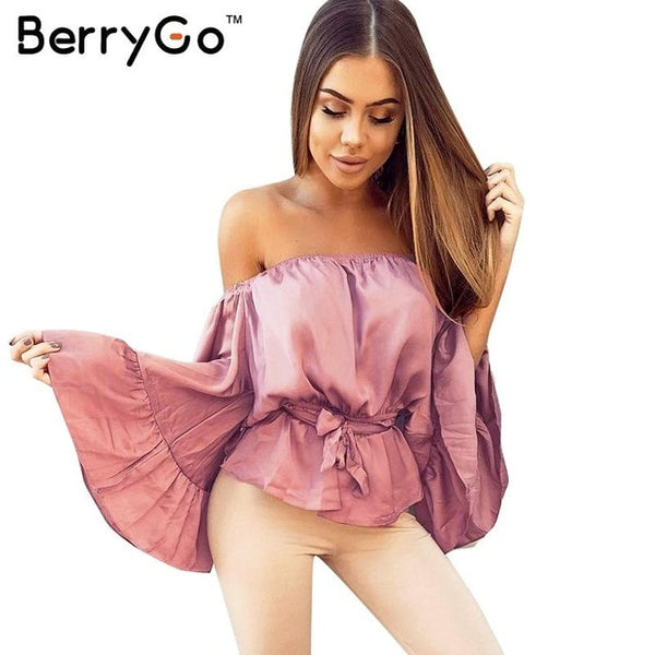 Sexy off shoulder ruffle satin blouse shirt Soft flare sleeve bow summer tops Elegant glossy pink women blouses blusas