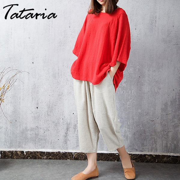 Big Size Vintage Cotton Linen Blouse Bat Plus Size Women's Linen Tops and blouses  O Neck Long Sleeve Cotton Tops Style Chinese