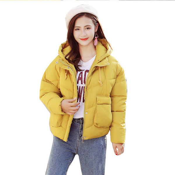 Big fur down parka women female short paragraph thickening loose large size cotton padded jacket jacket free agent 8818
