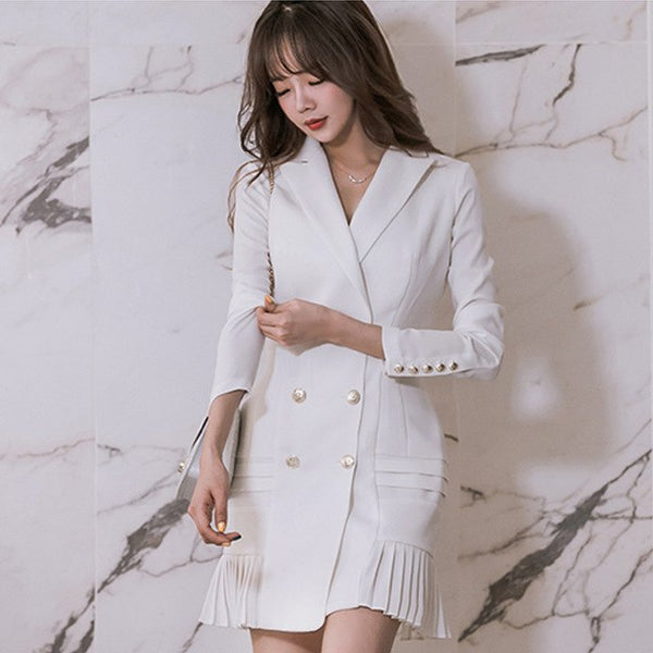 Black/white small suit long jacket female 2020 spring and autumn new Korean temperament long sleeve double-breasted ladies jacke