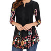 Bohemian Floral Women Summer Tunic Tops Plus Size Casual 3/4 Sleeve Ladies Vintage Ruffles Blouse Shirt Camisas Mujer 3XL 4XL