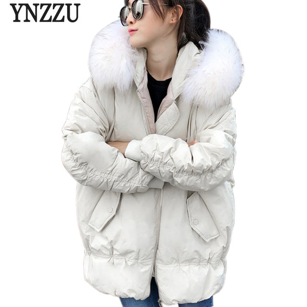 Brand 2020 New Winter Women's Down Jacket Loose Thick Warm Large Real Fur Collar Hooded Duck Down Coat Women Snow Outwear AO592