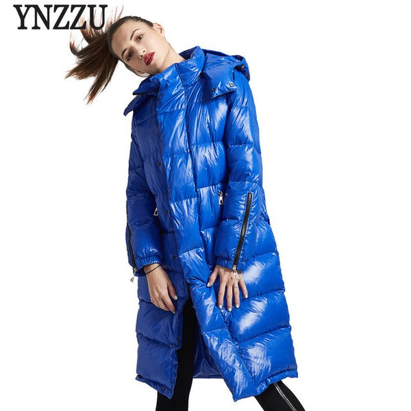Brand Luxury 2018 Winter Women's Down Jacket Chic Bright Duck Down Coat Women Thick Warm Hooded Female Snow Overcoat -30 AO709