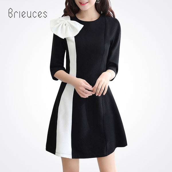 7d8e2876916 2017 New Spring Summer Bow tie Women Dress Black White Elegant Casual Work  Office Business Party