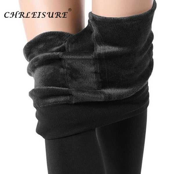 CHERLEISURE Winter Warm Pants Women Plus Size High Waist Leggings Trousers Female Clothing Velvet Thick Solid Pantolon Femme