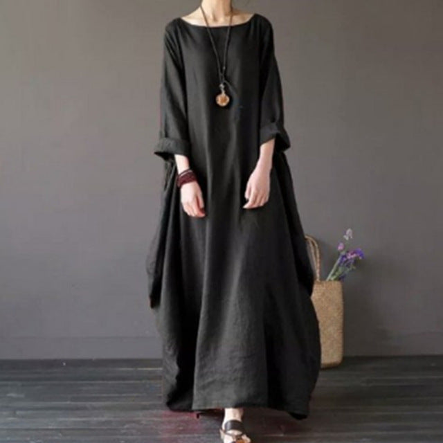 2018 Plus Size Dresses For Women Three Quarter Sleeve 4XL 5XL Loose Maxi  Summer Women\'s Dresses Female Clothes Fashion