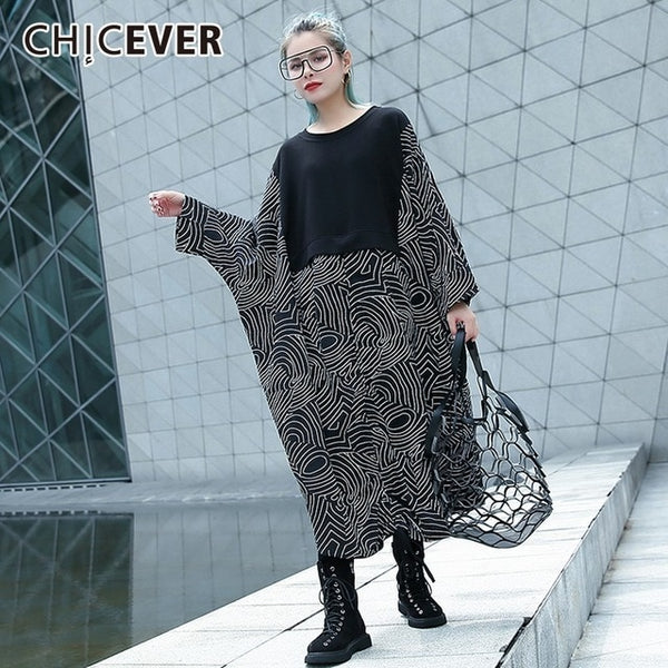 Autumn Women Dress Female Patchwork Geometric Patton Batwing Sleeve loose Oversize Women's Dresses Clothes Fashion New