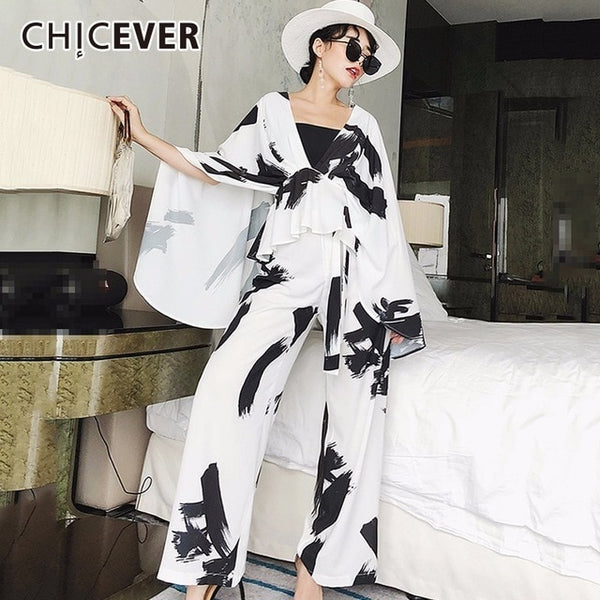 Summer Print Two Pieces Set Women Suit Batwing Sleeve Top With High Elastic Waist Wide Leg Pants Loose Oversize Clothes