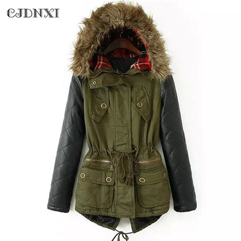 2018 Women Winter Coats Army Green Down Hooded Parkas Plus Size Cotton Padded Jackets PU Leather long Sleeve Fur Outwears