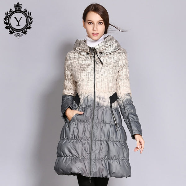 2017 Winter Plus Size Down Coat Women Parkas Female Long Duck Down Padded Jacket Hit Color High Quality Women's Clothing