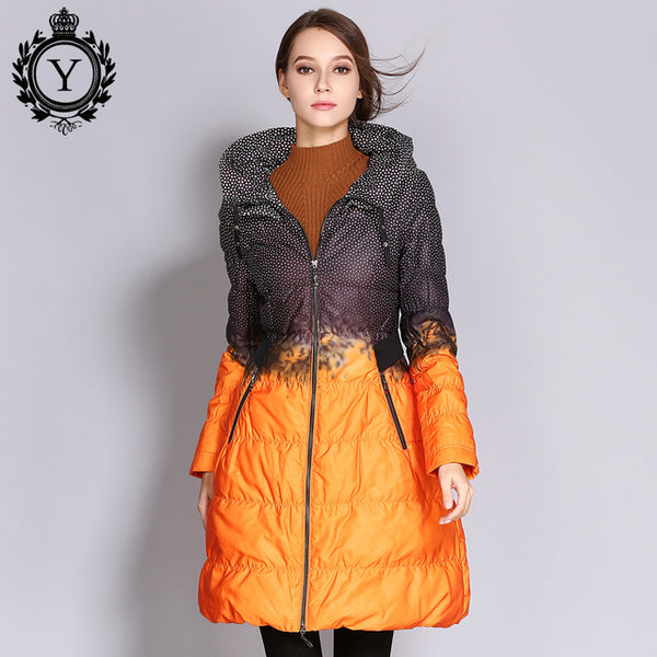 Wholesale Women Down Jacket Big Size Long Printed Parkas Winter Women's Quilted Coat Outwear Clothing Duck Down Jackets