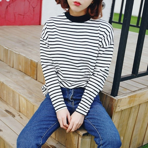 Casual Striped T Shirt Feminina Long Sleeves Tops Tees Summer Autumn Women Plus Size Shirt Tops Ladies Loose Tshirt Clothing
