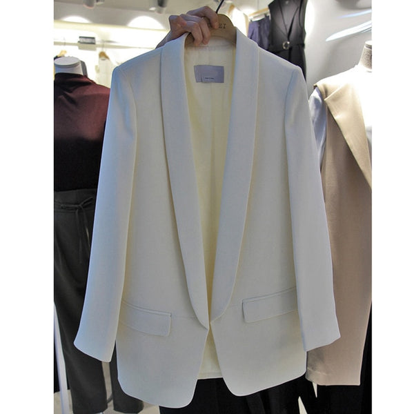 Casual white suit female jacket long section Korean black professional suit long sleeve spring and autumn