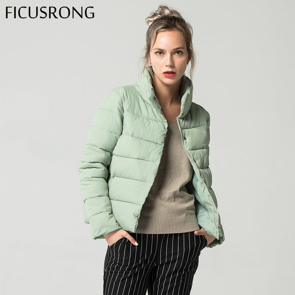 Causal Slim Thick Stand Collar Female Jacket Coat Warm Winter Jacket Women Down Parkas Cotton Padded Jacket  2018 New