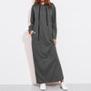 Plus Size Women Maxi Dress 2020 Autumn Hoodies Casual Solid Long Sleeve Hooded Jumper With Pockets Pullover Vestido Robe