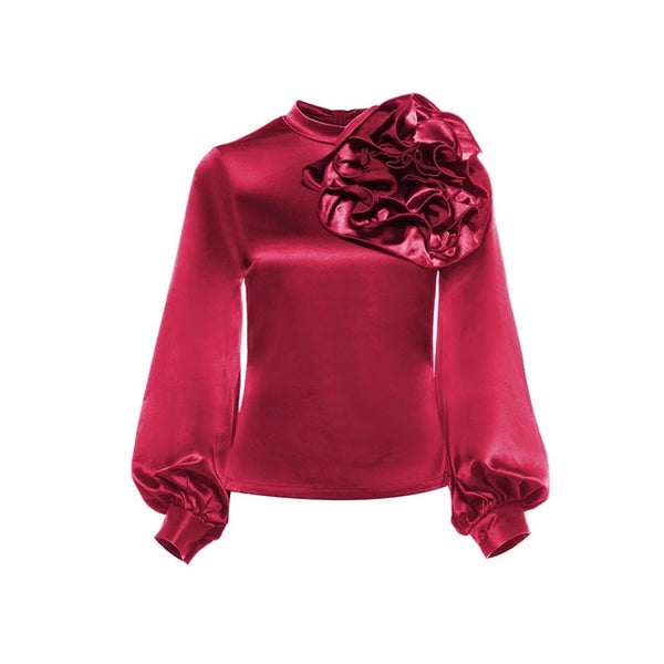 Clocolor Women Stain Blouse Fashion Solid Color Burgundy Flower Lantern Long Sleeve Summer Tops Vintage Streetwear Blouse Shirt