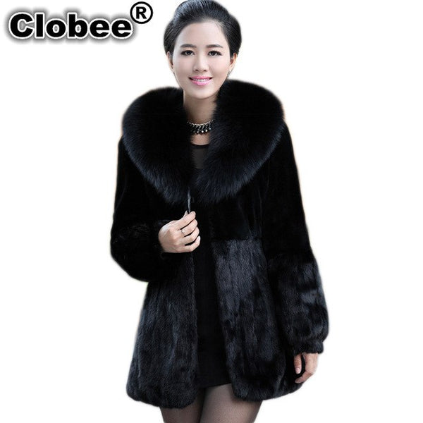 Coats 2017 6XL Winter Woman Thick Warm Fur Coat Black 2020 Faux Fur Coat Fox Fur Collar Long Jacket Overcoat Parka V116