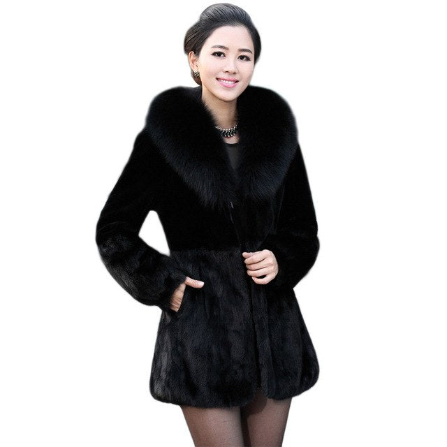 9b00aeb425e ... Coats 2018 6XL Winter Woman Thick Furry Fur Coat Black 2018 Faux Fur  Coat Fox Fur