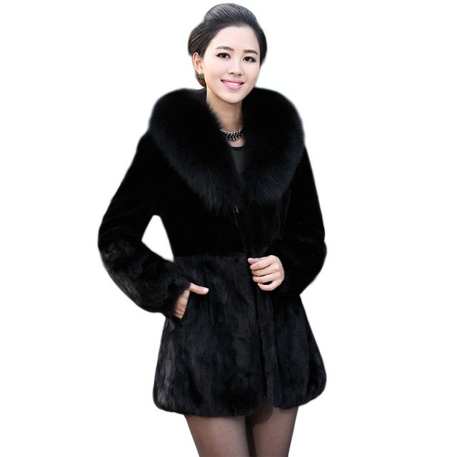 596ed75109e ... Coats 2018 6XL Winter Woman Thick Furry Fur Coat Black 2018 Faux Fur  Coat Fox Fur