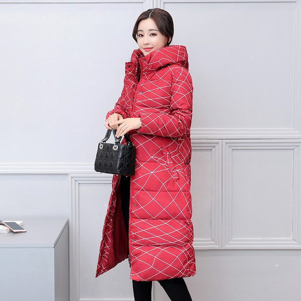 Cotton Long Knee Length Thicke Winter New Cotton Plus Size Korean Slim Coat Snow Wear Printing Women Hooded Warm Parkas MZ1738