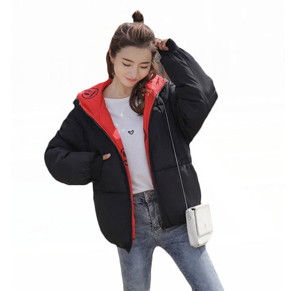 Cotton-Padded Jacket Women Winter 2020 New Korean Loose Thick Hooded Print Double Sides Wear Female Short Parkas Plus Size LQ215