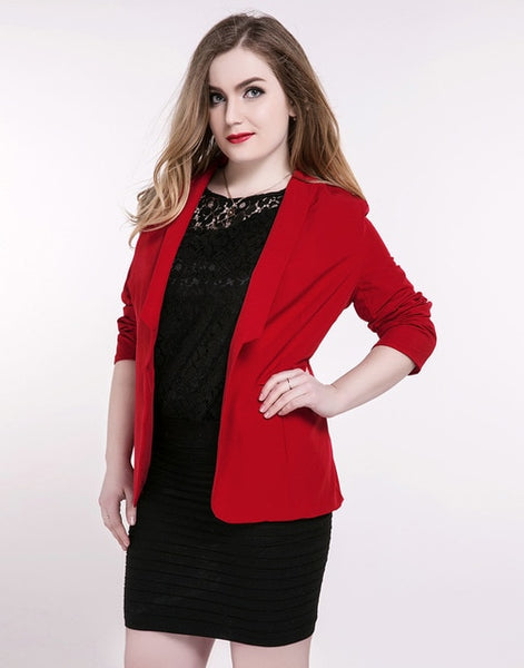 Women's Plus Size Casual Blazer Long Sleeve Red Black Jackets Coats Cocktail Party Summer Spring 3XL 4XL 5XL 6XL 7XL