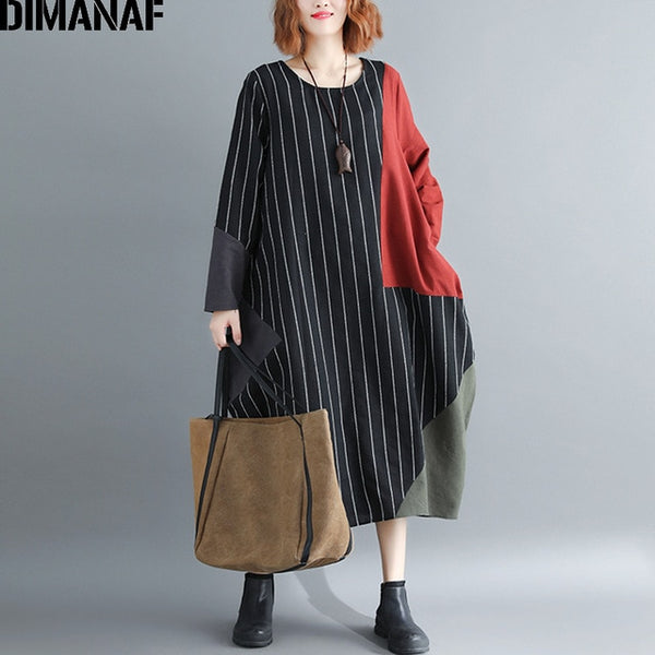 Women Dress Plus Size Large Clothing Autumn Female Lady Vintage Vestidos Striped Patchwork Casual Oversized Loose Black