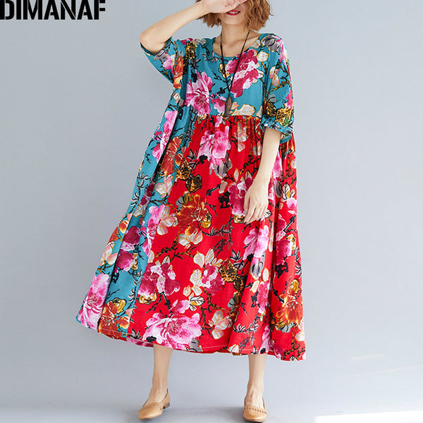 Women Summer Dress Plus Size Large Clothing Femme Elegant Lady Vestidos Print Floral Casual Oversized Pleated Loose Red