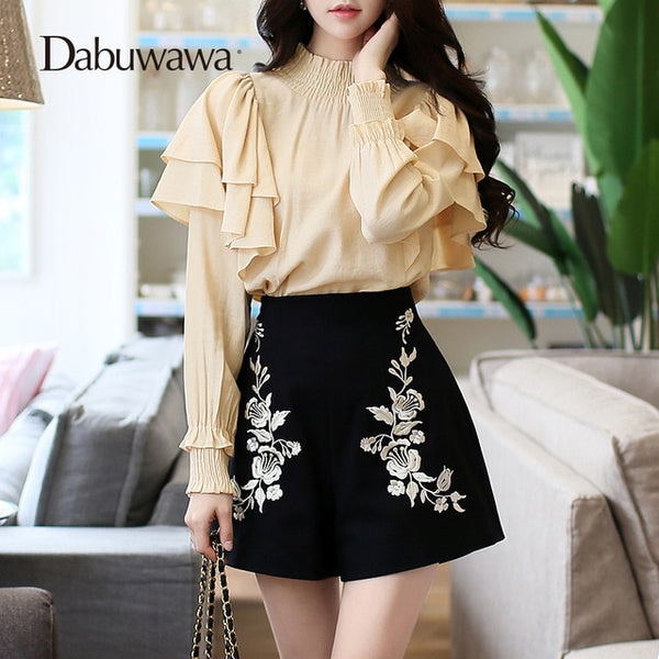 Dabuwawa Beige Women Long Sleeve Blouse Fashion 2017 Vintage Stand Ruffles Blouses #D17DST155