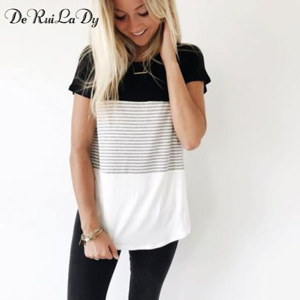 Women 2018 New Summer Fashion T-shirt O-Neck Short Sleeve Striped T shirts Female Casual Tops Tees