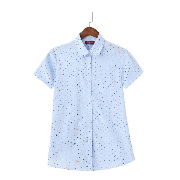 Fashion Plus Size Blouse Summer Women Tops Cotton Shirt Female Short Sleeve Ladies Print Blusas Womens Clothing 2020