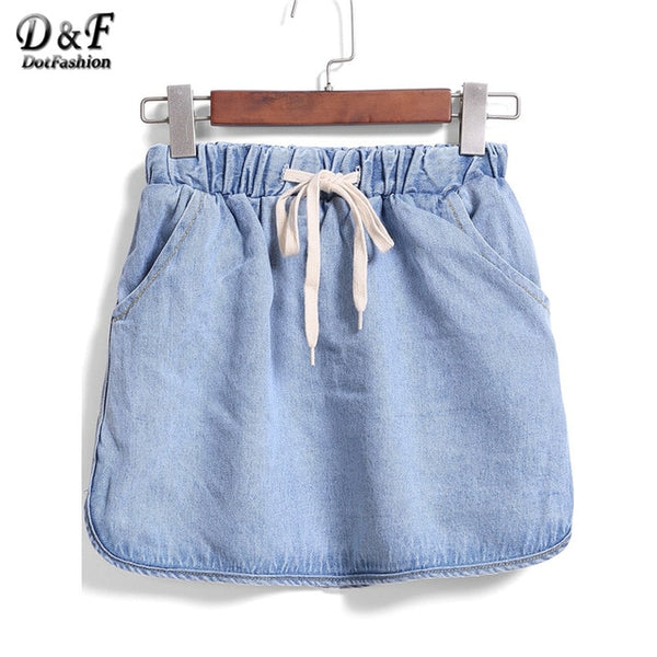 Casual Blue Drawstring Waist Denim Skirt 2020 Spring Plain Sheath Denim Skirt Ladies Women Mini Pencil Cute Skirt